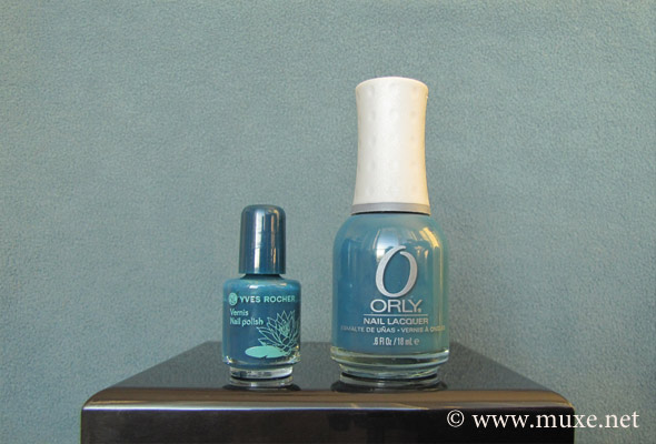 YR Vert Abysses и ORLY Sapphire Silk свотч