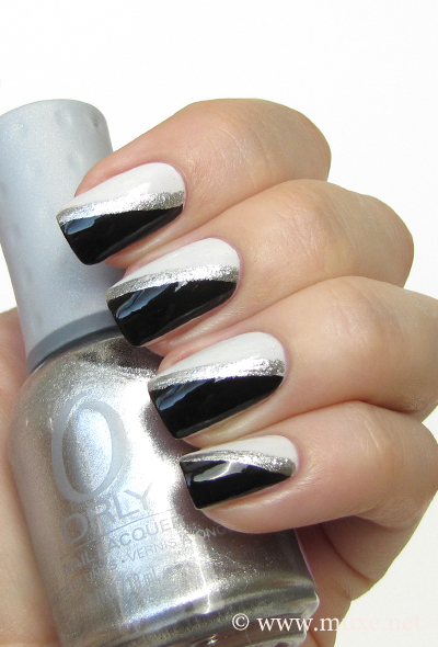 White and black nail art