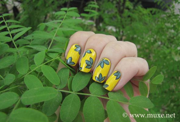 Желтый зеленый дизайн ногтей