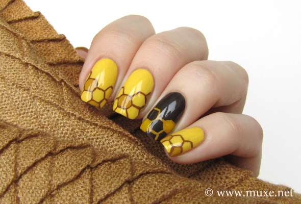 Bees and honey nail design