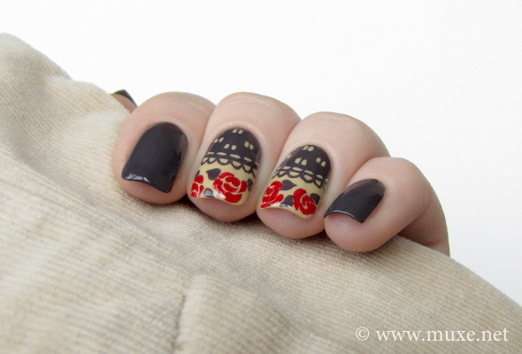 Grey nail art with red roses