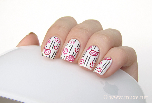White paisley nails