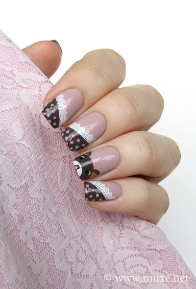 Rilakkuma nail design with dots and lace