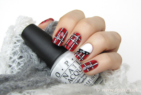 Red and white nails with plaid stripes