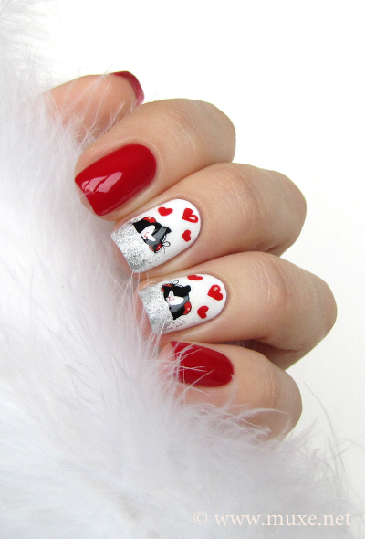 Valentine day nail art with hearts