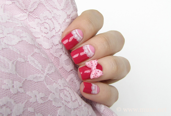 Pink half moon nails
