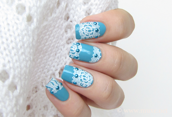 White lace nails with studs