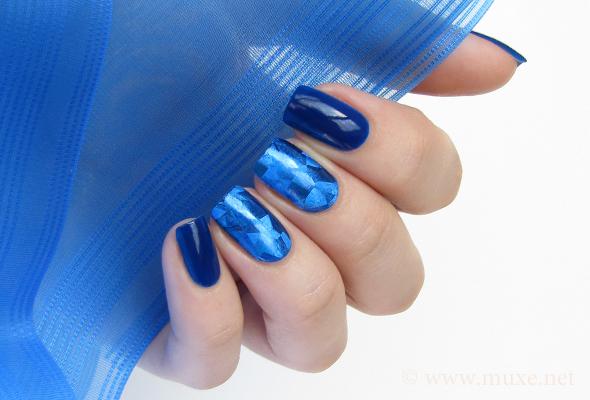 Blue nail foil transfer