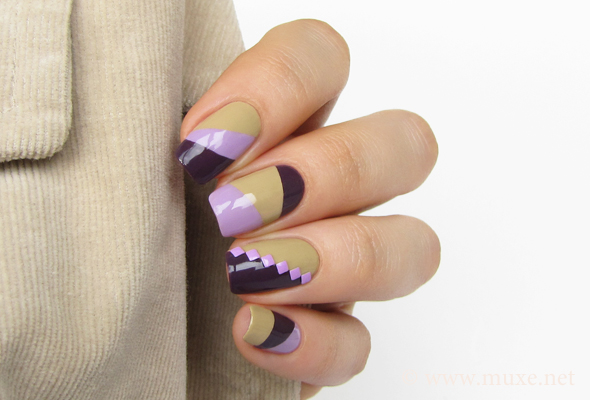 Nails with lilac studs design