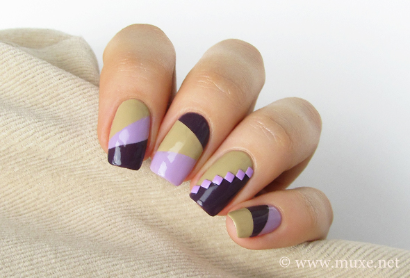 Lilac and purple color block nails