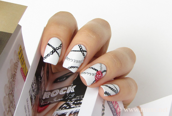 Gothic nail art with chains and flowers