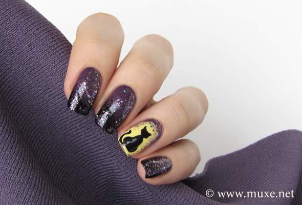 Halloween nails in purple and black
