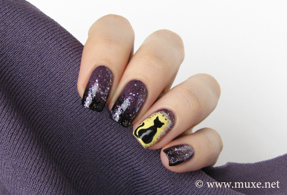Halloween black cat nails
