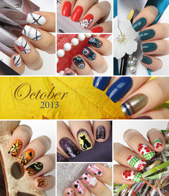 October nail art collage