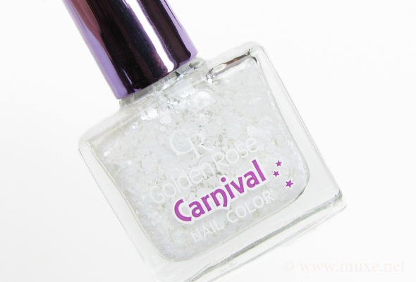 Golden Rose Carnival white glitter