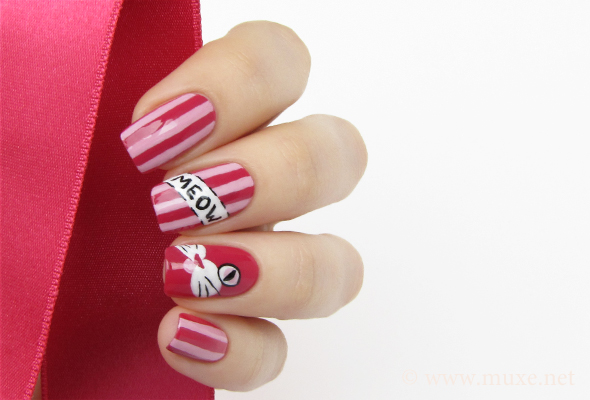 Cat nails design in pink