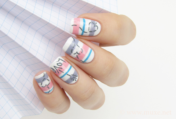 Love and hearts nail design