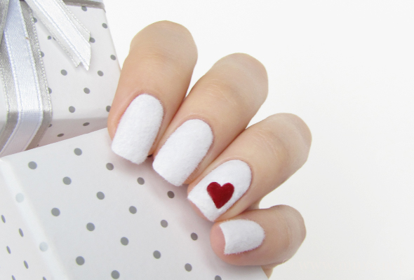 White flocked nails design
