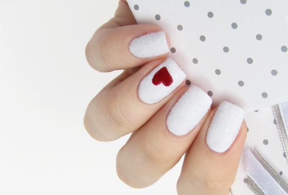 White fuzzy nails with flocking powder