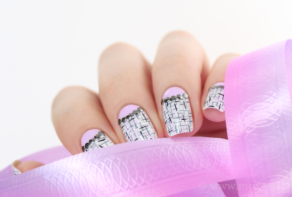 Metal studs in half moon nail art