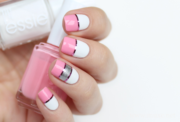 Pink And White Striped Nails With Essie Blanc
