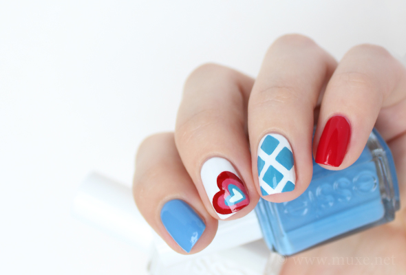 Blue, red and white nails with a heart