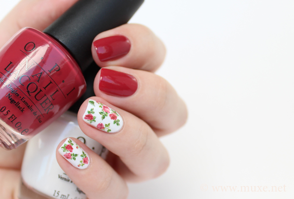 Red and white roses nail art