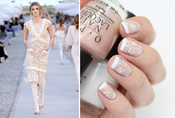 Nude lace nail design
