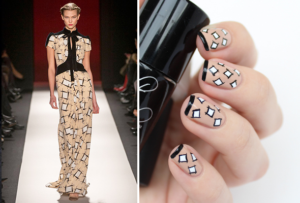 Abstract nude nail design