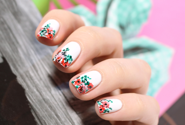 Floral print white nails