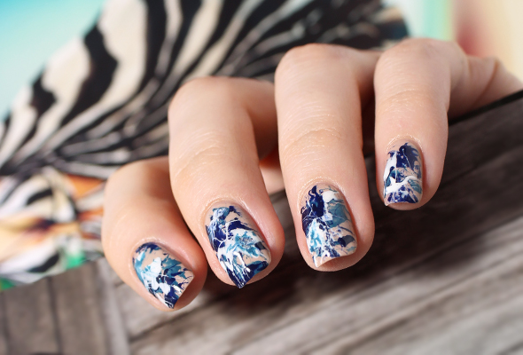 Color Splatter Nails Blue And White Splatter Nails