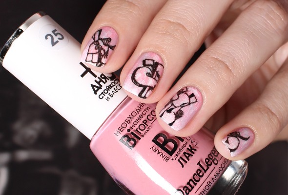Pink nail design with white acid wash