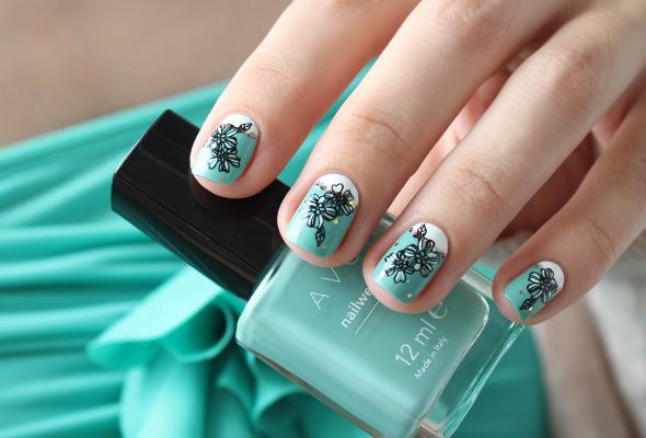 White mint half moons nail design
