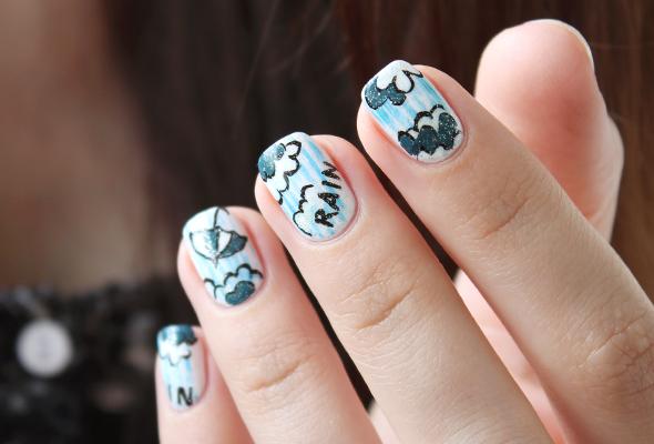 Summer rain umbrella nail design in white and blue
