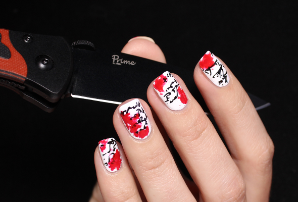 Red blood nails design