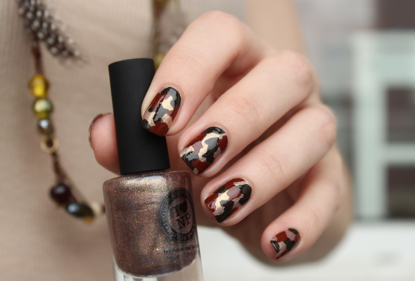 Camouflage nail art design