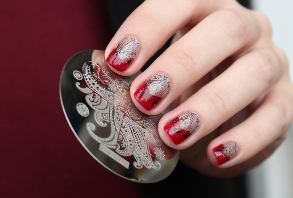 Black floral stamping over nude red