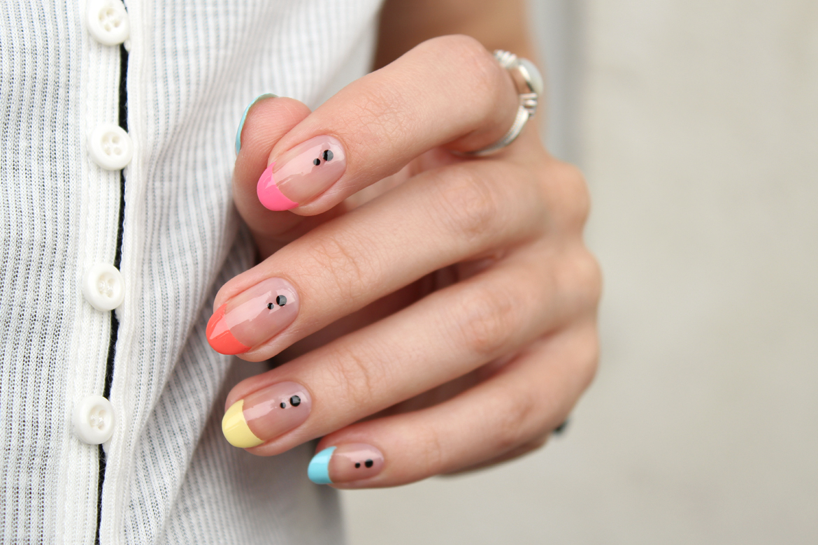 Coloured french nails